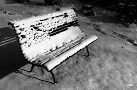 Banc dans le jardin, un soir d'hiver