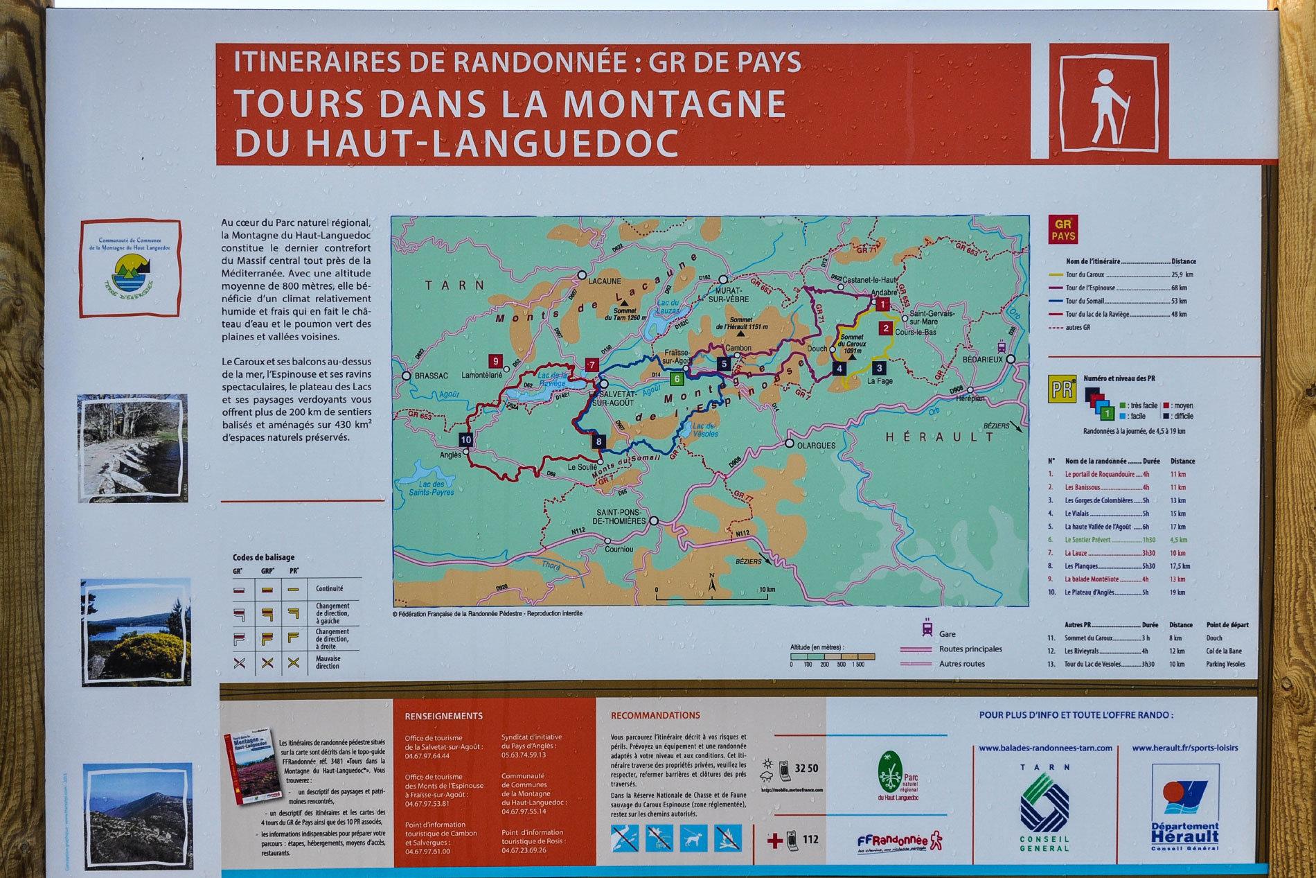 Randonnées en Haut Languedoc. Carte des itinéraires du GR de Pays Tour de la Montagne du Haut Languedoc