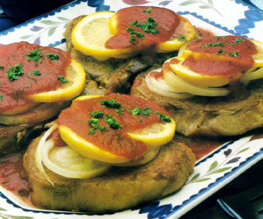 Recettes de côtes de porc. Côtelettes de porc au citron