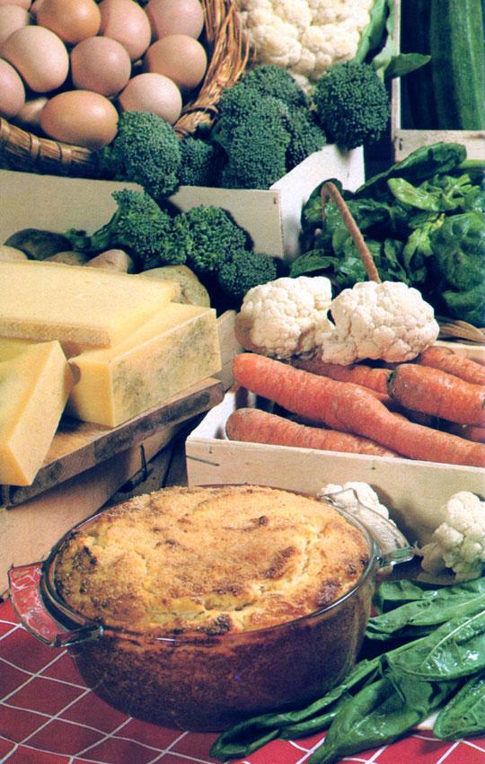 Soufflé au fromage de comté et aux légumes