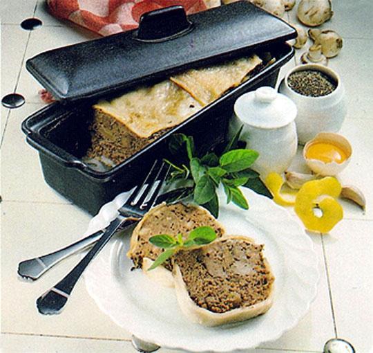 Recettes de porc. Pâté de foie de porc aux champignons