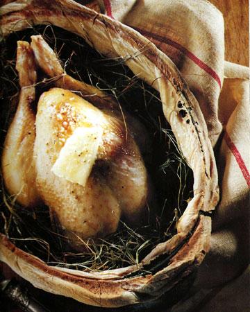 Recettes de poulet. Poulet au foin