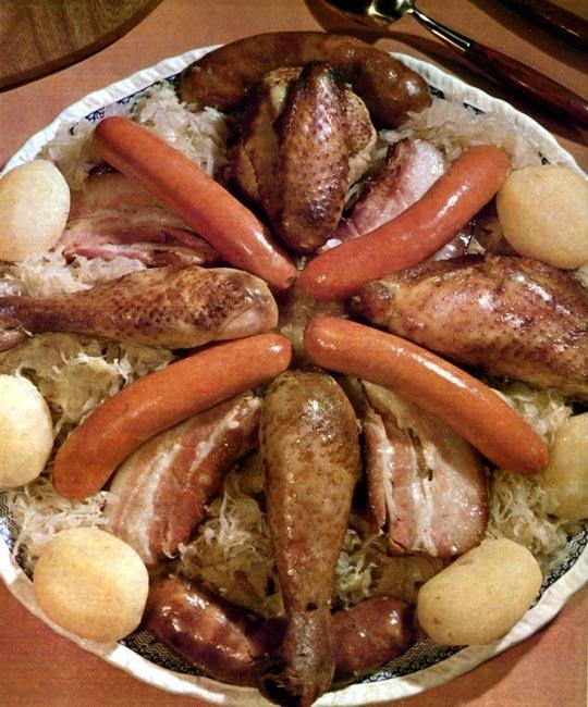 Recettes de poulet. Choucroute au poulet