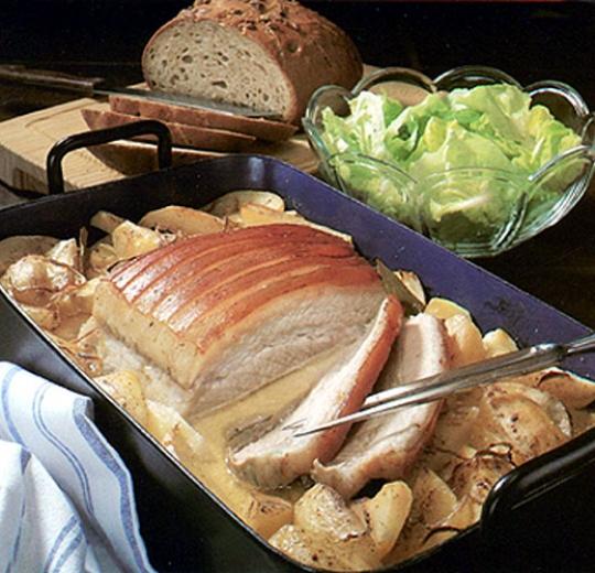 Recettes de rôti de porc. Rôti de porc à la paysanne