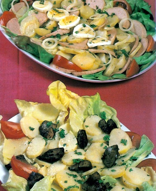 Recettes de salades de pommes de terre. Au cervelas