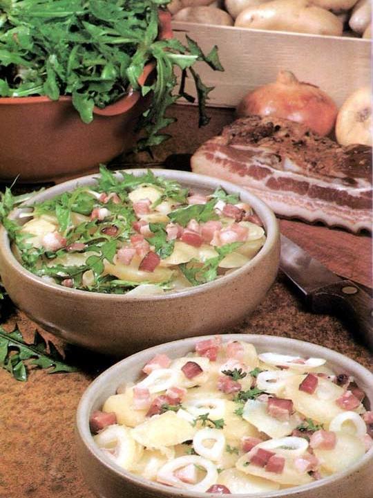 Recettes de salades de pommes de terre. Au lard