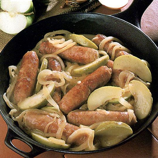 Recettes de saucisses de porc. Saucisses de porc aux pommes