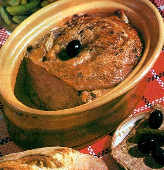 Recettes de terrines. Terrine de canard aux olives